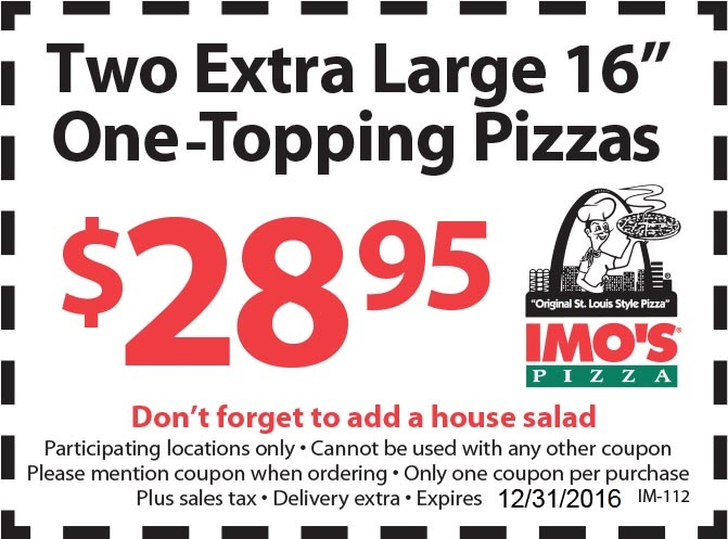 image about Imos Coupons Printable identified as Imos Pizza Coupon codes, Promo Codes Discounts Sep-2019