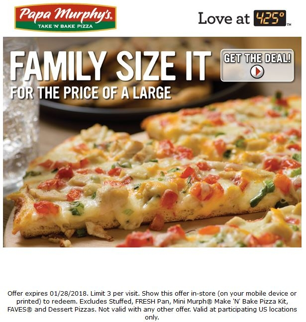 Family size it for the price of a large.